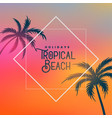 tropical beach background with palm trees vector image vector image