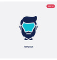 two color hipster icon from blogger and vector image vector image
