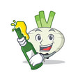 with beer turnip mascot cartoon style vector image