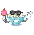 with ice cream rice bowl character cartoon vector image