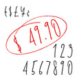 ballpen lettering numbers and currency symbols vector image