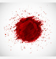 big red grunge circle with splashes of paint on vector image