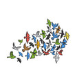 birds flying in form arrow sketch engraving vector image