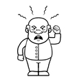 Black and white old man shouting angrily vector image vector image