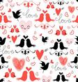 bright graphic pattern of love birds and hearts vector image vector image