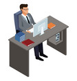 businessman on office desk 3d