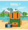 Camping backpack and camera vector image