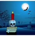 Candle on Skull in Halloween Night vector image vector image