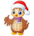 cartoon owl wearing santa hat vector image vector image