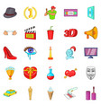 celluloid icons set cartoon style vector image vector image