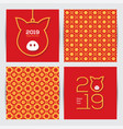 chinese 2019 new year greeting cards set vector image vector image