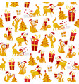 christmas pattern with dogs and gifts new year vector image