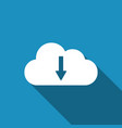cloud download icon isolated with long shadow vector image vector image