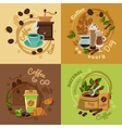 Coffee Concept 4 Flat Icons Square vector image vector image