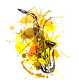 Colored hand sketch saxophone vector image