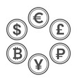 currency flat icon set line style coins vector image