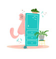 cute playful cat on the wardrobe in cartoon flat vector image vector image