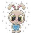 cute rabbit on a white background vector image vector image