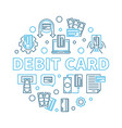 debit card round outline creative vector image vector image