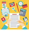 Document with Hands and Icons - Flat Style vector image vector image