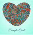 doodle heart doodle ethnic card red and marine vector image vector image