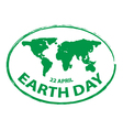 earth day green grunge map stamp style symbol 2 vector image vector image
