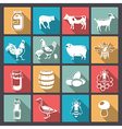 farm icons in flat design vector image vector image