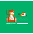 Farming industry farmer with fork farm house vector image vector image