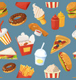 fast food seamless pattern with cold water vector image vector image