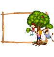 frame template with kids climbing the tree vector image vector image