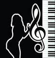 girl with violin key silhouette vector image vector image