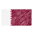 hand drawn national flag of qatar isolated on a vector image