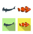isolated object of sea and animal logo set of sea vector image vector image