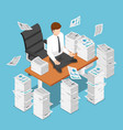 isometric businessman doing meditation on desk vector image vector image