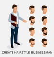 isometric businessmen set head vector image vector image