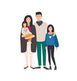 large loving asian family father mother holding vector image vector image