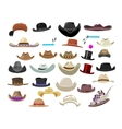 Large set of 29 vintage hats in different style vector image vector image