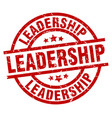 leadership round red grunge stamp vector image vector image