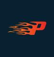 letter p flame logo speed logo design concept vector image vector image