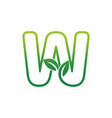 letter w leaf growing buds shoots logo icon vector image
