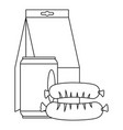 lunch box sausage icon outline style vector image