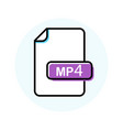mp4 file format extension color line icon vector image vector image