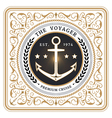 Nautical the voyager retro white card vector image vector image