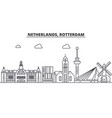 netherlands rotterdam architecture line skyline vector image vector image