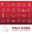 outline italy icons vector image vector image