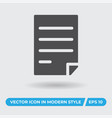paper with text icon simple sign for web site and vector image vector image