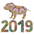 piggy with number 2019 for adults vector image
