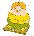 Plump Woman on Weighing Scale vector image vector image