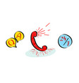 question answer customer support 247 by phone vector image vector image