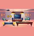 recreation room for leisure in house basement vector image vector image